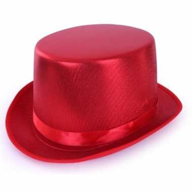 Rode hoge hoed metallic volwassenen carnavalskleding valkenswaard