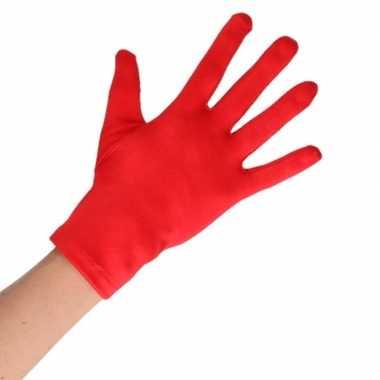 Rode korte handschoenen volwassenen carnavalskleding valkenswaard