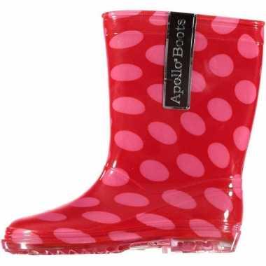 Rode regenlaarsjes roze stippen kinderen carnavalskleding valkenswaar