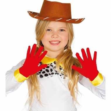Rode verkleed handschoenen kinderen carnavalskleding valkenswaard