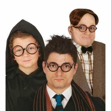 Ronde zwarte nerd verkleed bril zonder glazen carnavalskleding valken
