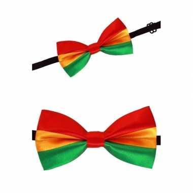 Rood/geel/groen carnaval vlinderdas carnavalskleding Valkenswaard