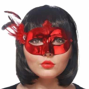 Rood oogmasker veren dames carnavalskleding valkenswaard