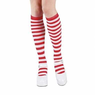 Rood/wit gestreepte kniekousen dames carnavalskleding valkenswaard