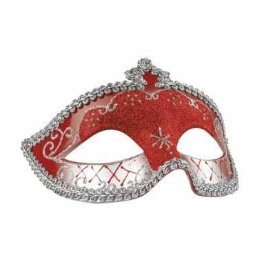 Rood/zilver oogmasker glitters dames carnavalskleding valkenswaard
