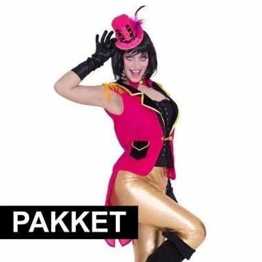 Roze accessoires slipjas inclusief roze hoedje carnavalskleding valke