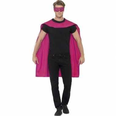 Roze cape oogmasker volwassenen carnavalskleding valkenswaard