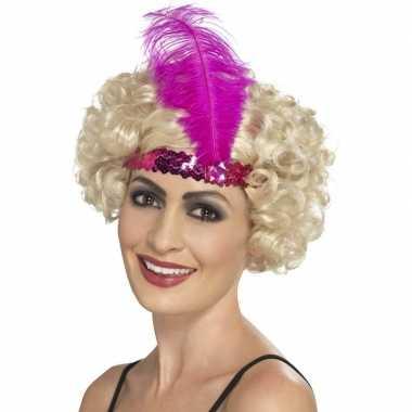 Roze charleston hoofdband dames carnavalskleding valkenswaard
