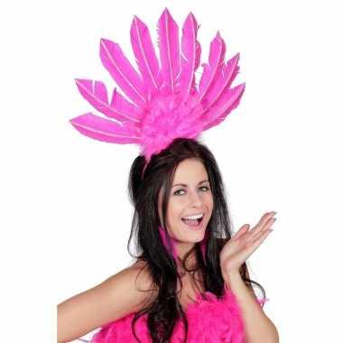 Roze haarband veren dames carnavalskleding valkenswaard