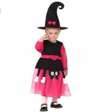Roze heksen verkleed carnavalskleding hoed kids