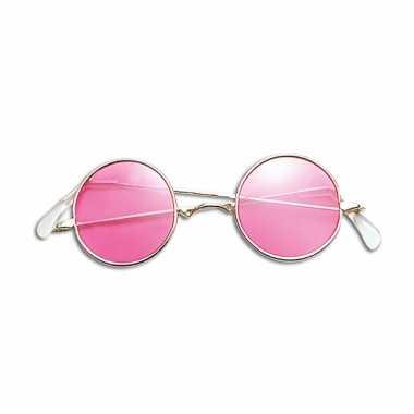 Roze hippie bril carnavalskleding valkenswaard