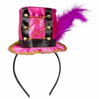 Roze hoedje diadeem dames carnavalskleding valkenswaard