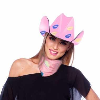 Roze kartonnen cowboyhoed lippen/kusjes dames carnavalskleding valken