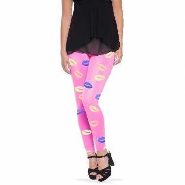 Roze legging lippen/kusjes dames carnavalskleding valkenswaard