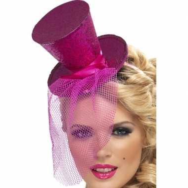 Roze mini hoedje diadeem carnavalskleding valkenswaard