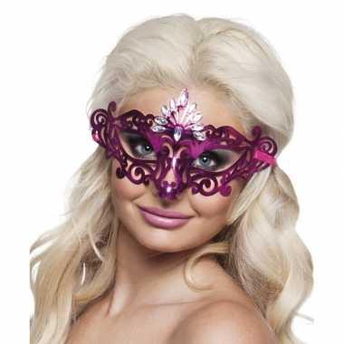 Roze oogmasker diamanten dames carnavalskleding valkenswaard