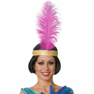 Roze pauwenveer charleston/jaren verkleed accessoire carnavalskleding