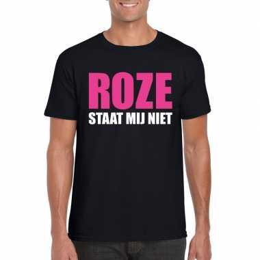 Roze staat mij niet toppers t shirt zwart heren carnavalskleding valk