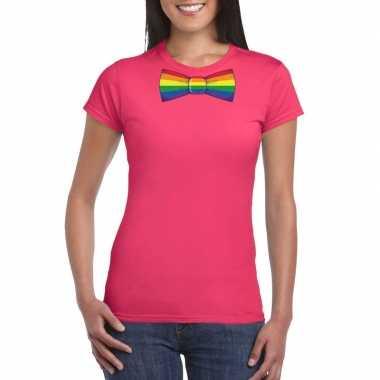 Roze t shirt regenboog vlag strikje dames carnavalskleding valkenswaa