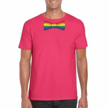 Roze t shirt regenboog vlag strikje heren carnavalskleding valkenswaa