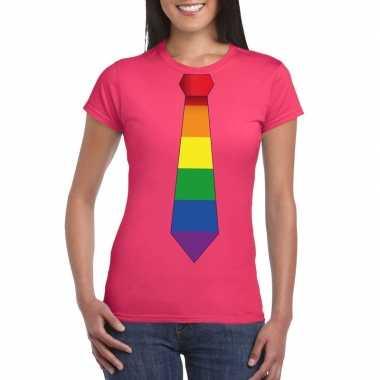 Roze t shirt regenboog vlag stropdas dames carnavalskleding valkenswa