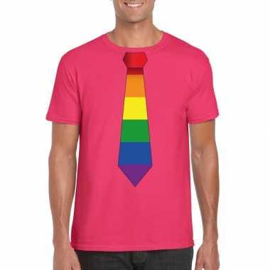 Roze t shirt regenboog vlag stropdas heren carnavalskleding valkenswa