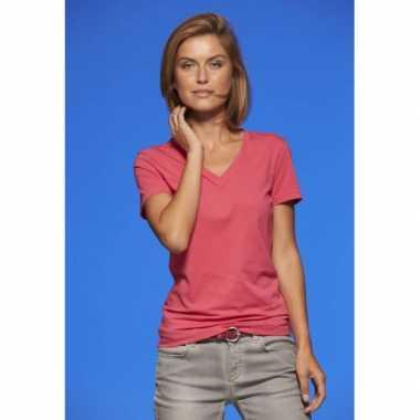 Roze v hals stretch shirtje dames carnavalskleding valkenswaard