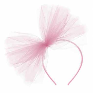 Roze verkleed diadeem tule strik dames carnavalskleding valkenswaard