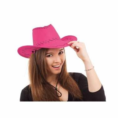 Roze western feesthoeden carnavalskleding valkenswaard