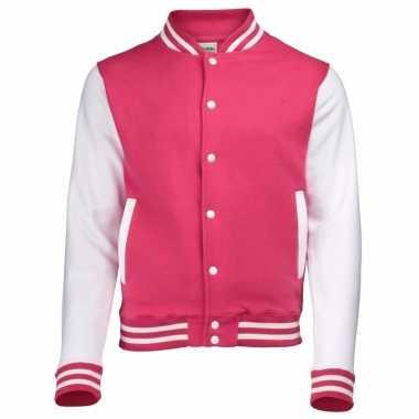 Roze/witte katoenen school jas dames carnavalskleding valkenswaard