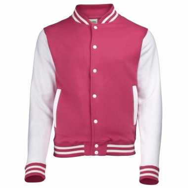 Roze/witte katoenen school jas heren carnavalskleding valkenswaard