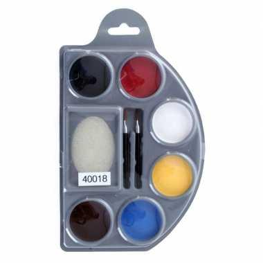 Schminkpalet kleuren spons kwastjes