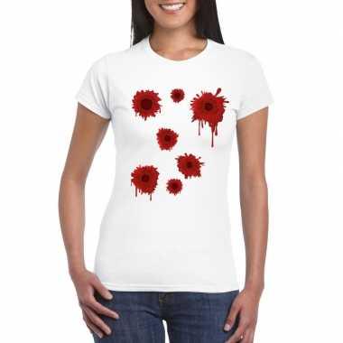 Schotwonden t shirt wit dames carnavalskleding valkenswaard