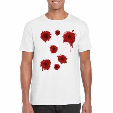 Schotwonden t shirt wit heren carnavalskleding valkenswaard