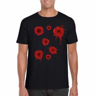 Schotwonden t shirt zwart heren carnavalskleding valkenswaard