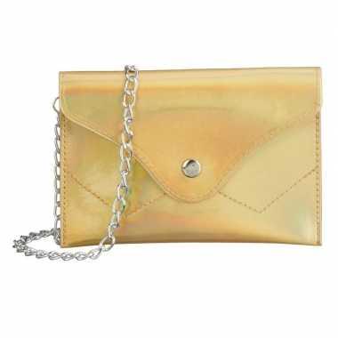 Schoudertasje/handtasje metallic goud carnavalskleding valkenswaard