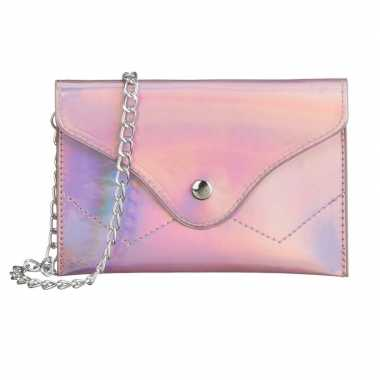 Schoudertasje/handtasje metallic roze carnavalskleding valkenswaard