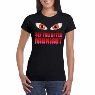 See you after midnight halloween vampier t shirt zwart dames carnaval