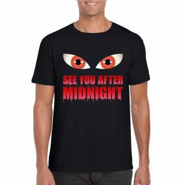 See you after midnight halloween vampier t shirt zwart heren carnaval