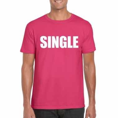 Single/ vrijgezel tekst t shirt roze heren carnavalskleding valkenswa