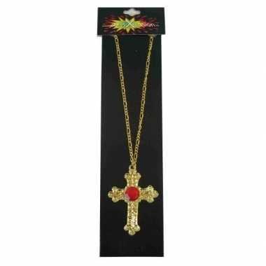 Sinterklaas kruis ketting rode steen carnavalskleding valkenswaard