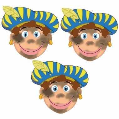 Sinterklaas roetveeg pieten maskers setje stuks carnavalskleding valk
