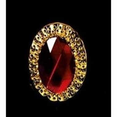 Sinterklaas verkleed ring goud/rood ovaal heren carnavalskleding valk