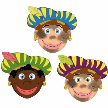 Sinterklaas zwarte pieten maskers setje stuks carnavalskleding valken