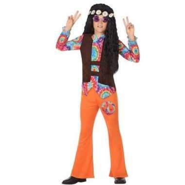 Sixties/hippie verkleed carnavalskleding oranje jongens valkenswaard