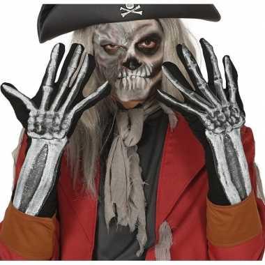 Skelet horror verkleed handschoenen volwassenen carnavalskleding valk