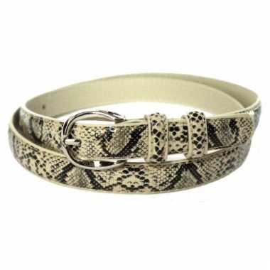 Slangenleer riem zwart beige