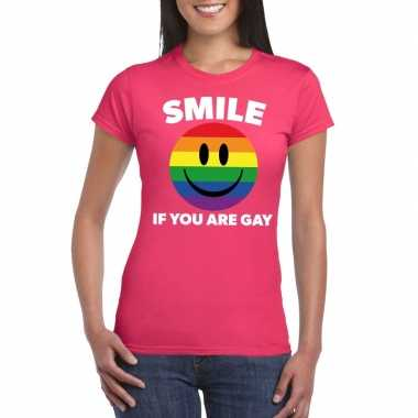 Smile if you are gay emoticon shirt roze dames carnavalskleding valke
