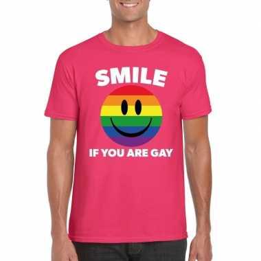 Smile if you are gay emoticon shirt roze heren carnavalskleding valke