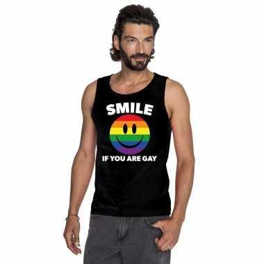Smile if you are gay emoticon tanktop/ singlet shirt zwart heren carn